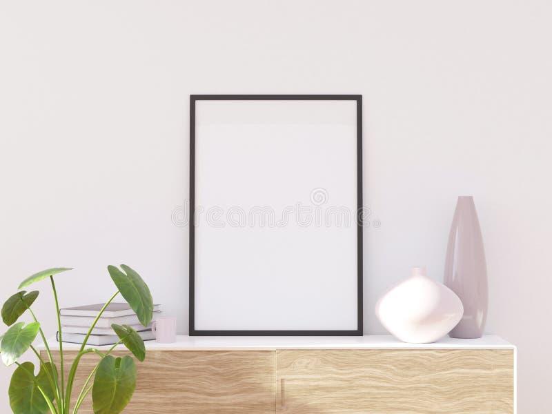 Il salone moderno accogliente luminoso con mobilia leggera, 3d rende illustrazione vettoriale