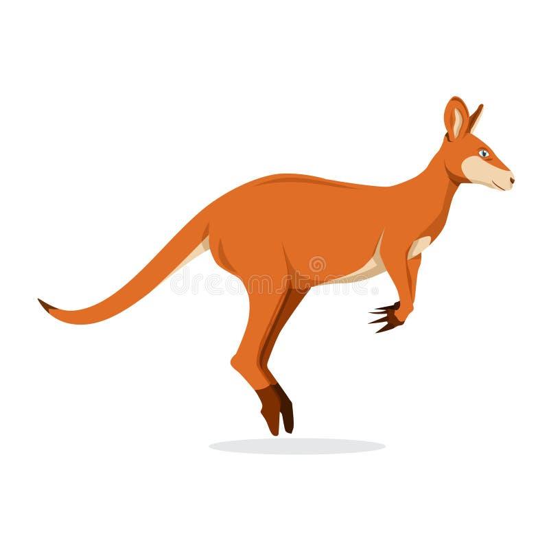 Il salto del canguro isolato nel fondo bianco, illustrazione di vettore Macropodidae illustrazione vettoriale
