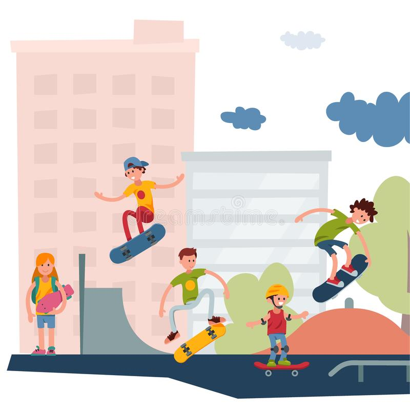 Il salto urbano del parco pubblico del skateboarder di skateboarding attivo all'aperto estremo attivo di sport inganna l'illustra royalty illustrazione gratis