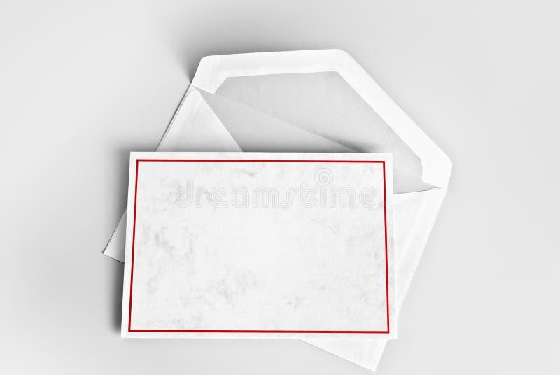 Il saluto in bianco o vi ringrazia cardare con la struttura rossa sopra la busta immagini stock libere da diritti