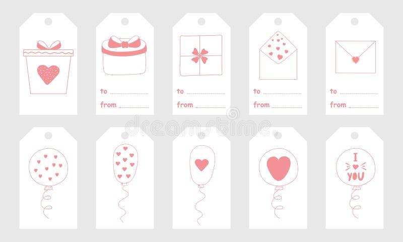Il saluto etichetta con gli elementi disegnati a mano svegli per il giorno del ` s del biglietto di S. Valentino royalty illustrazione gratis