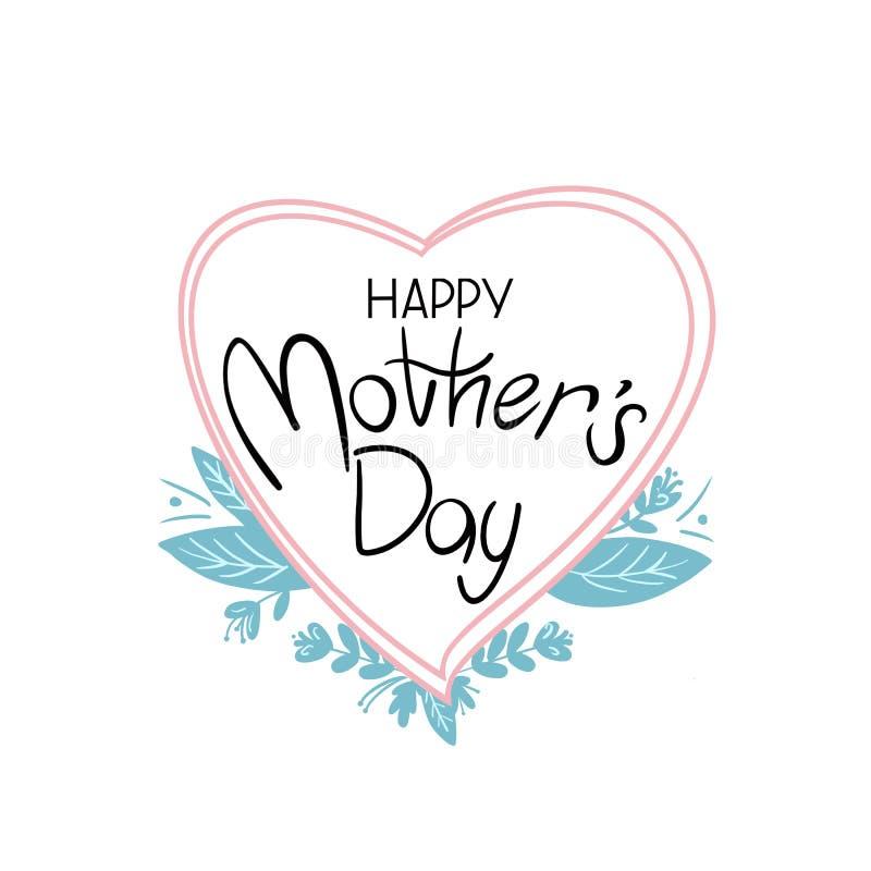 Il saluto felice della scrittura di festa della Mamma sul cuore ha modellato la lavagna con le foglie verdi su fondo bianco illustrazione di stock