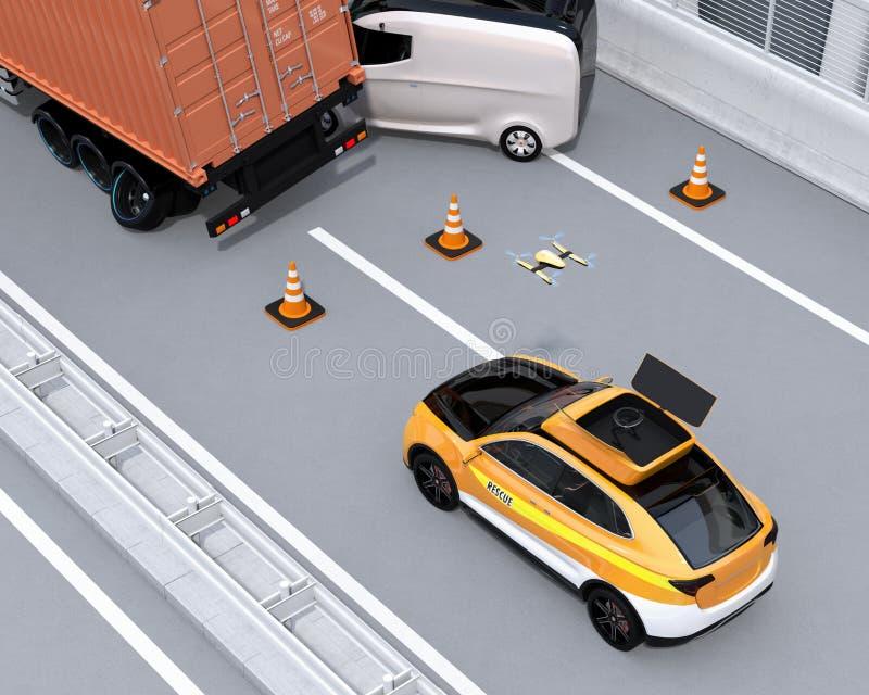 Il salvataggio elettrico SUV ha liberato il fuco all'incidente stradale di registrazione sulla strada principale illustrazione di stock