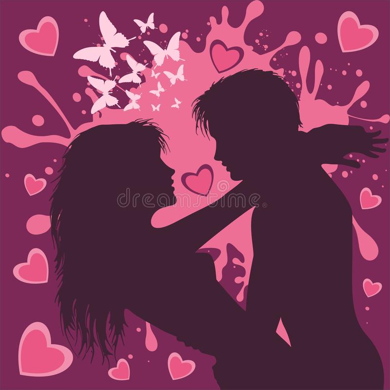 Il San Valentino si accoppia degli amanti nella porpora e nell'illustrazione rosa di vettore royalty illustrazione gratis