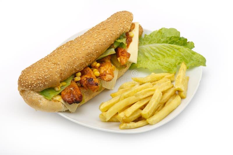 Sandwich di pollo servito con le fritture immagine stock libera da diritti