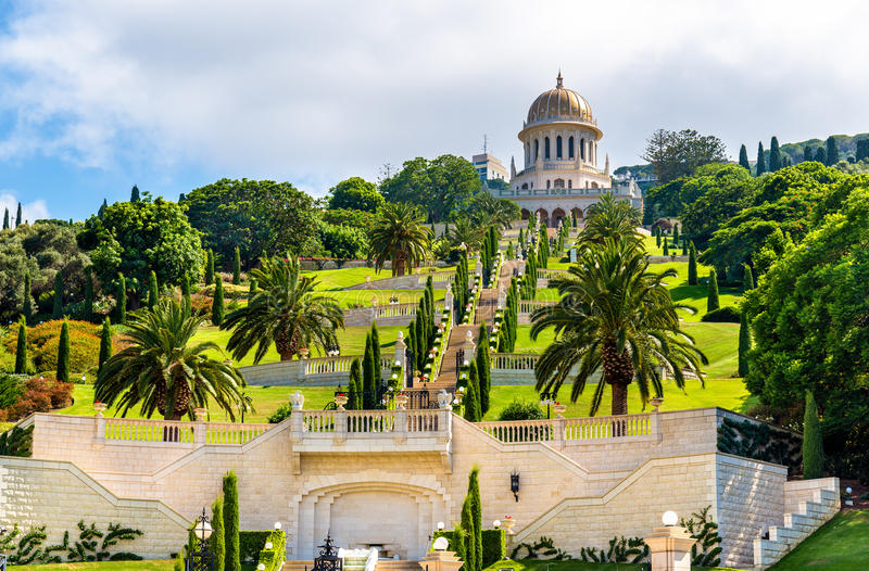 Il santuario del Bab ed i terrazzi più bassi al mondo di Bahai concentrano a Haifa immagine stock libera da diritti