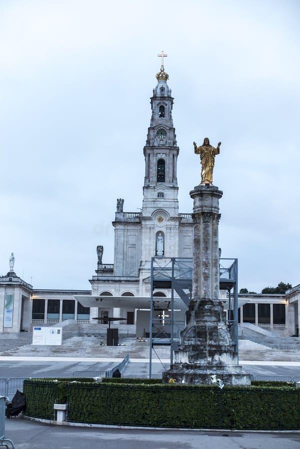 Il santuario di Fatima Quadrato e basilica della nostra signora di Fati fotografia stock libera da diritti