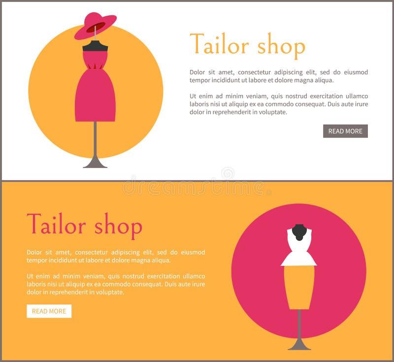 Il sarto Shop Two Colorful carda l'illustrazione di vettore illustrazione di stock