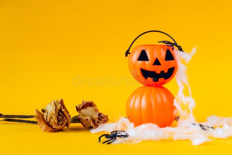Il secchio della lanterna di Halloween Jack o con secco è aumentato fotografia stock
