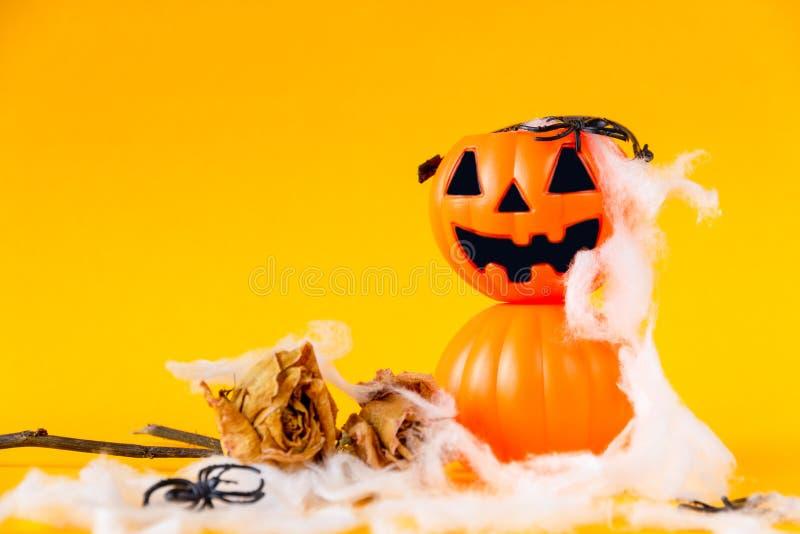 Il secchio della lanterna di Halloween Jack o con secco è aumentato immagine stock