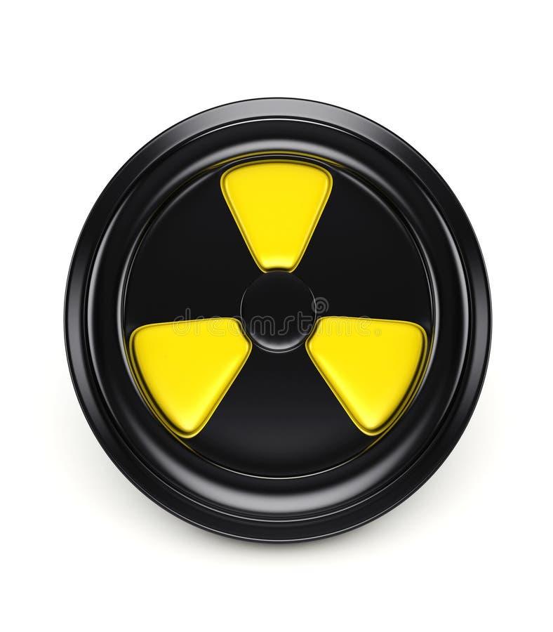 il segnale di rischio biologico 3d sul nero può coperchio illustrazione di stock
