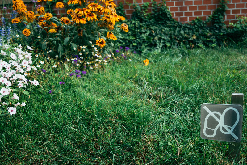 Il segnale indossa la passeggiata del ` t sull'erba fotografia stock libera da diritti