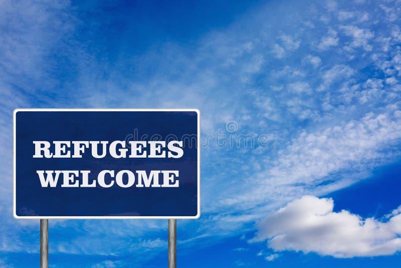 Il segnale stradale con il segno positivo dei rifugiati immagine stock libera da diritti