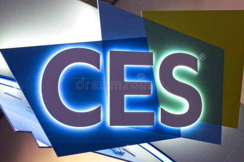 Il segno accoglie favorevolmente gli ospiti a 2019 CES immagini stock libere da diritti