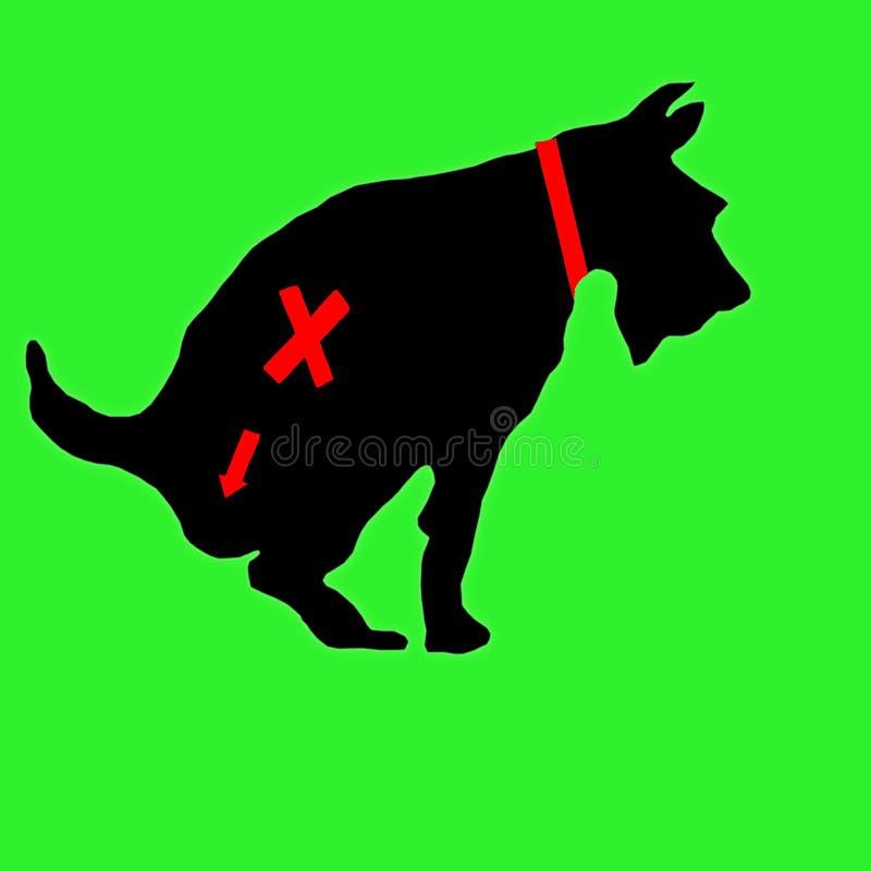 Il segno che proibisce i cani dal andare alla toilette Il cane va alla toilette Il cane defeca royalty illustrazione gratis