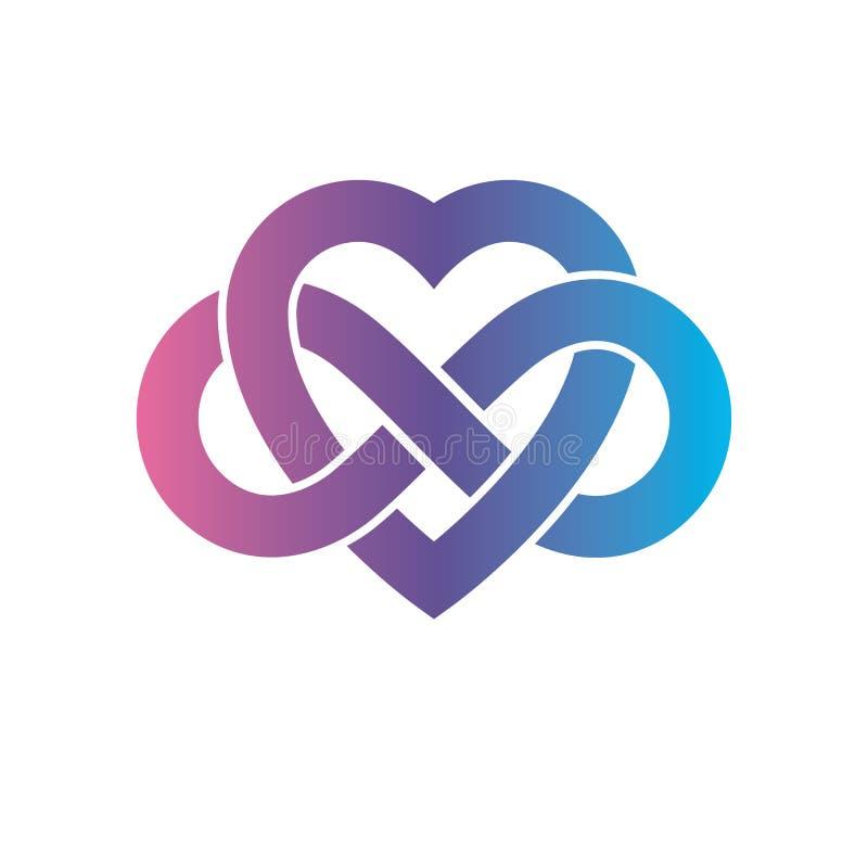 Il segno concettuale di amore eterno, simbolo di vettore ha creato con il segno del ciclo dell'infinito illustrazione vettoriale