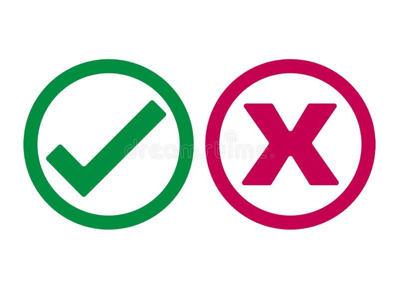 Il segno convenzionale e la X o confermano e Deny Icon royalty illustrazione gratis
