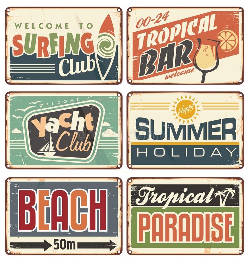 Il segno d'annata di vacanza estiva si imbarca sulla raccolta illustrazione vettoriale