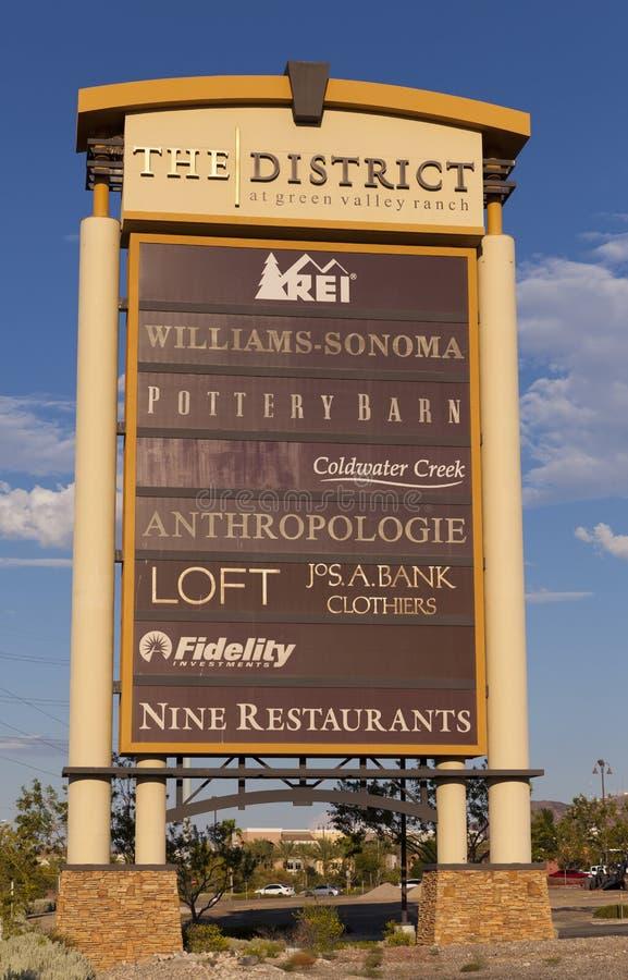 Il Segno Del Distretto Al Ranch A Las Vegas, NV Della Valle Verde Su Augu Fotografia Editoriale