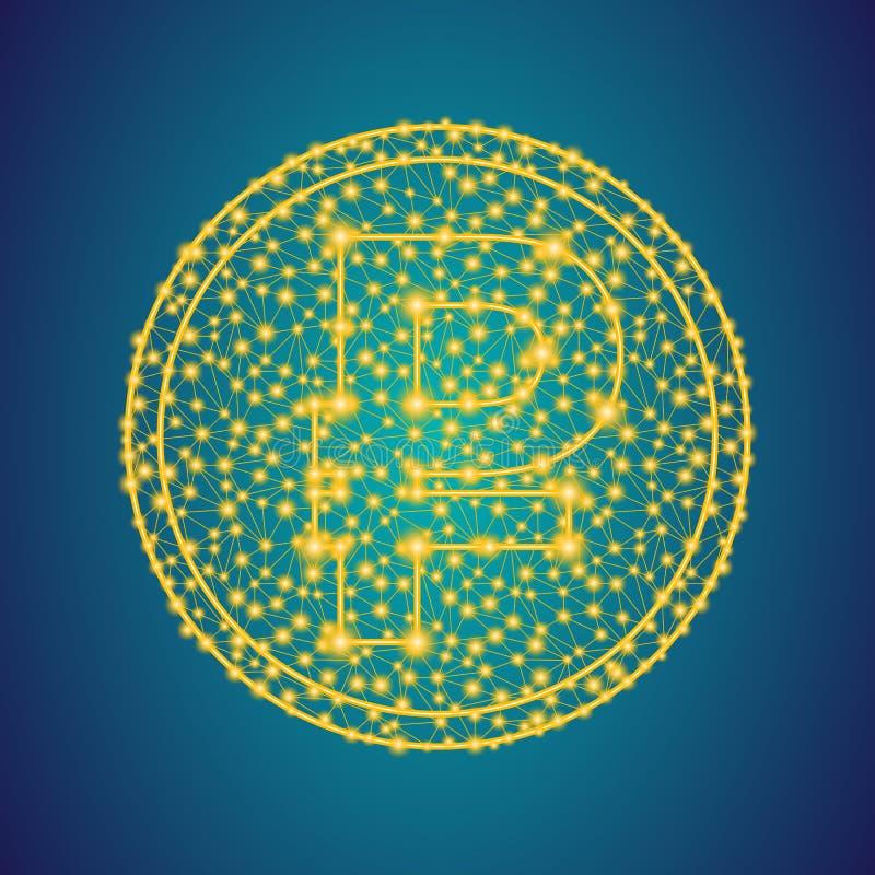 Il segno dell'icona dei soldi della rublo dell'oro sulla poli linea bassa poligonale del plesso ed i punti coniano il fondo fotografie stock libere da diritti