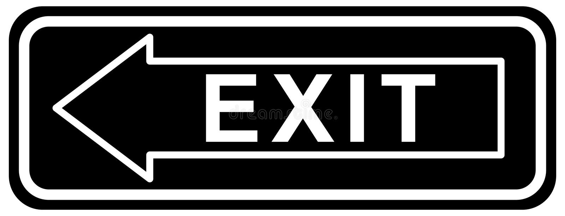 Il segno dell'uscita il colore del nero della freccia sinistra illustrazione di stock