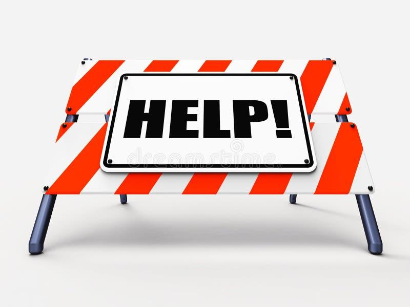 Il segno di aiuto si riferisce all'assistenza carente illustrazione di stock