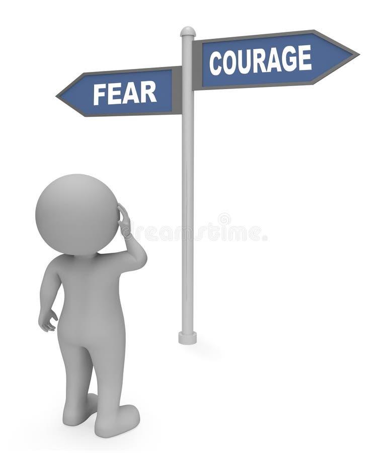 Il segno di coraggio di timore indica il valore del terrore e la rappresentazione della determinazione 3d illustrazione vettoriale