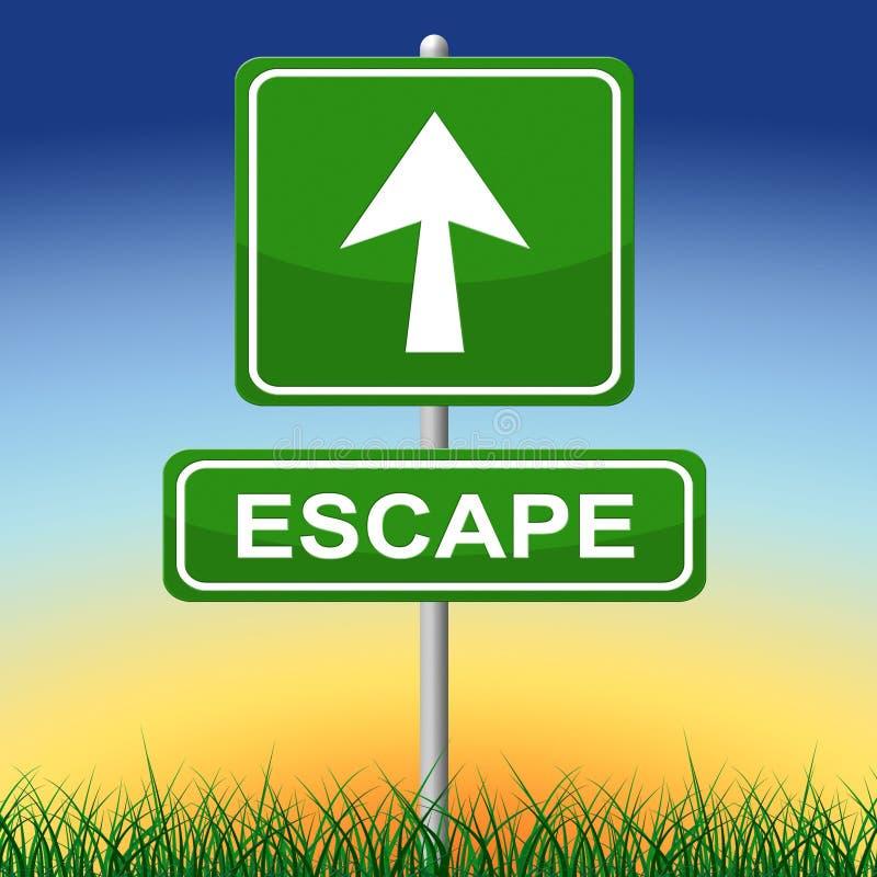 Il segno di fuga rappresenta va via e freccia illustrazione di stock