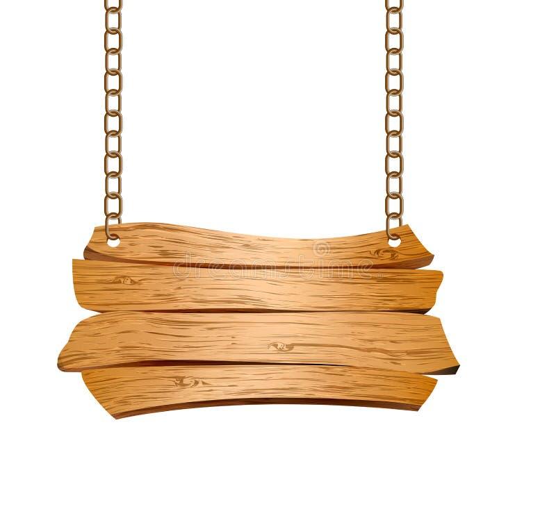 Il segno di legno ha sospeso sulle catene illustrazione vettoriale