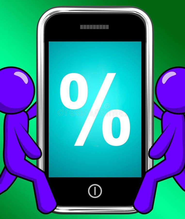 Il segno di percentuali sul telefono visualizza lo sconto o l'investimento di percentuale illustrazione di stock