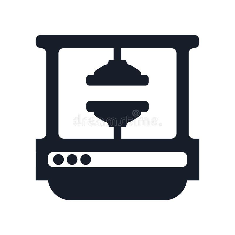 Il segno ed il simbolo di vettore dell'icona della stampa della macchina isolati su fondo bianco, lavorano il concetto a macchina royalty illustrazione gratis