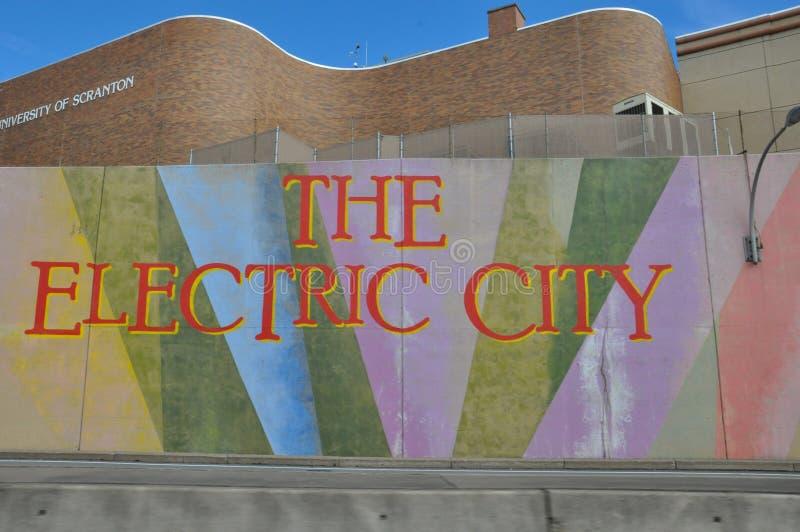 Il segno elettrico della città, Scranton, Pensilvania immagini stock