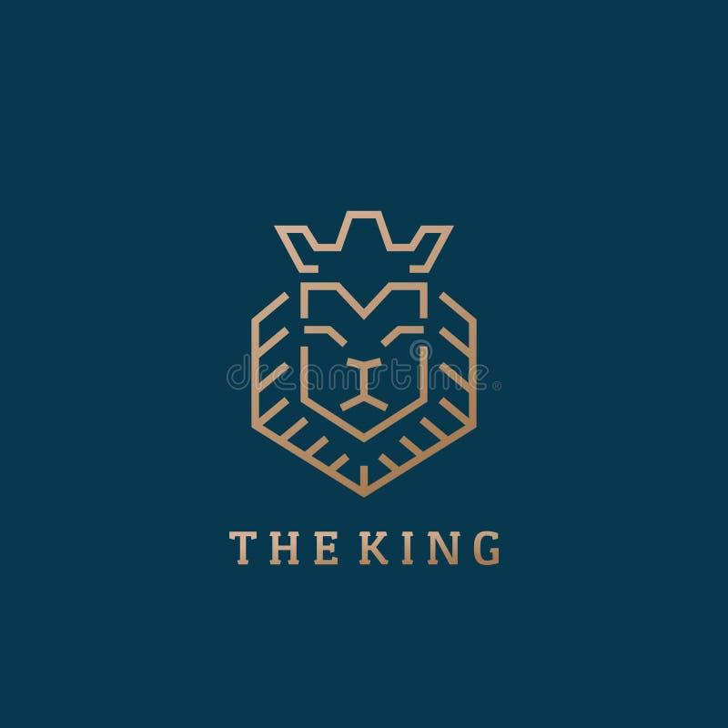Il segno, il simbolo o Logo Template di vettore di re Lion Face Line Style Abstract Colore premio dell'oro Fondo scuro royalty illustrazione gratis