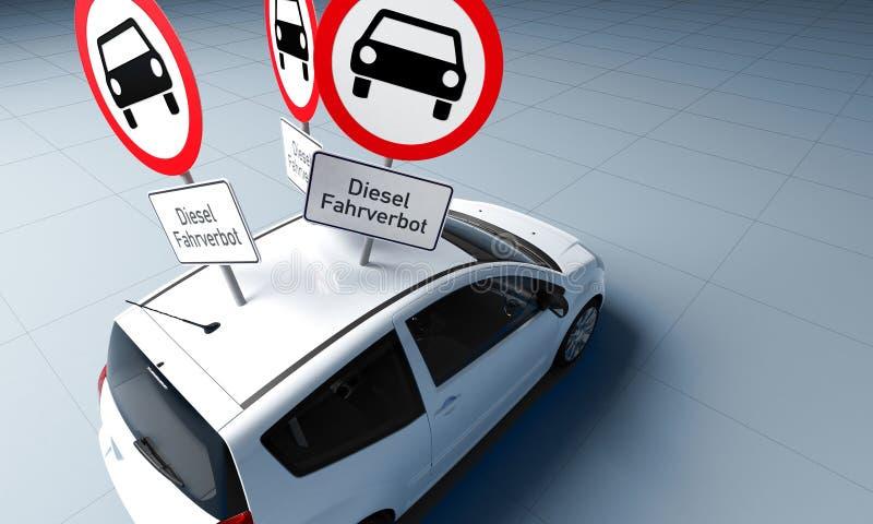 Il segno movente diesel di divieto con testo tedesco ha attaccato in tetto dell'automobile illustrazione vettoriale