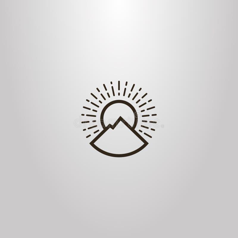 Il segno rotondo del profilo semplice di vettore della linea paesaggio e sole della montagna di arte rays illustrazione di stock