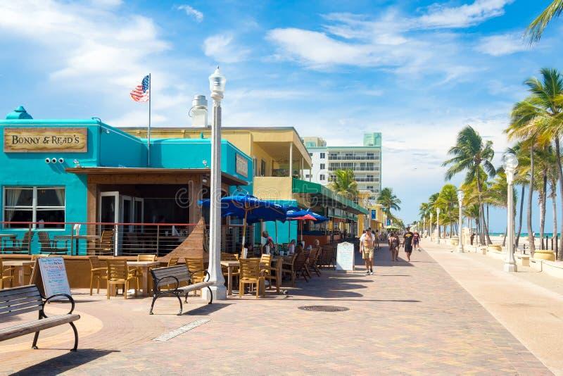Il sentiero costiero famoso della spiaggia di Hollywood in Florida fotografie stock libere da diritti