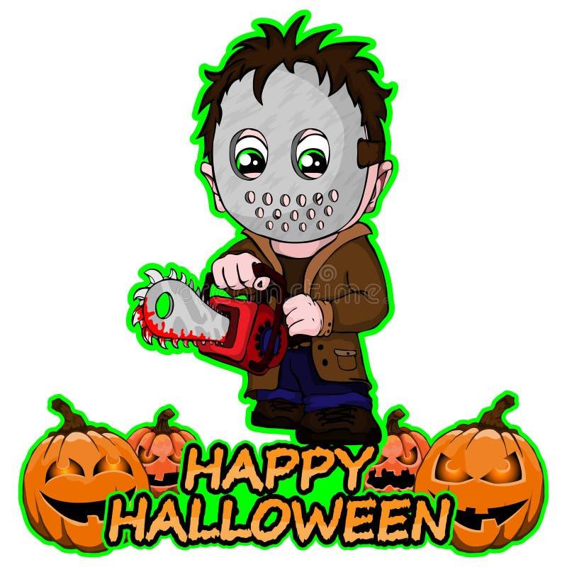 Il serial killer con la maschera vuole un Halloween felice su un fondo bianco isolato illustrazione vettoriale