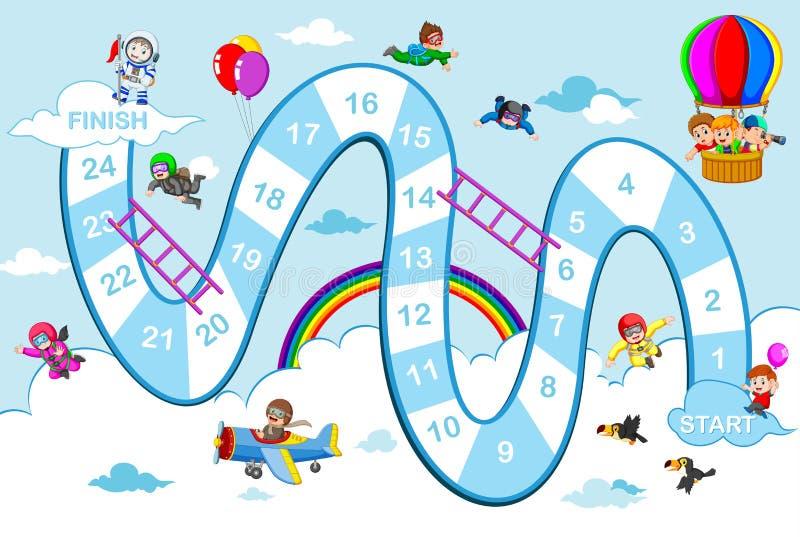 Il serpente ed il gioco delle scale con il tema del cielo blu illustrazione vettoriale