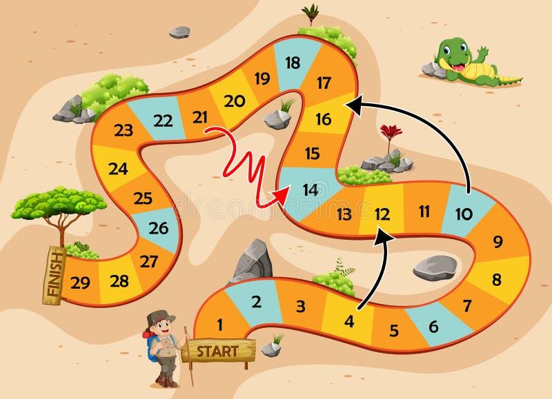 Il serpente ed il gioco delle scale con il tema di avventura illustrazione vettoriale