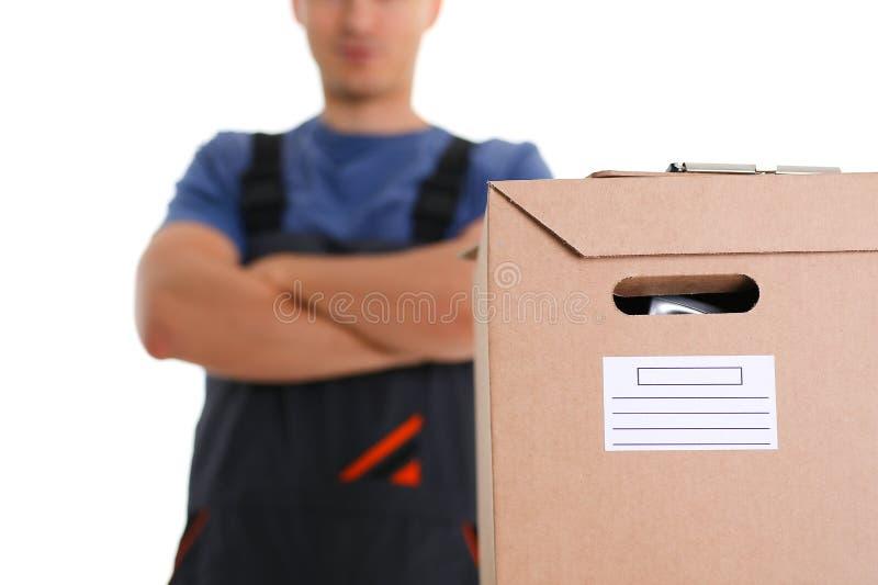 Il servizio di distribuzione del corriere dello specialista porta le scatole immagine stock