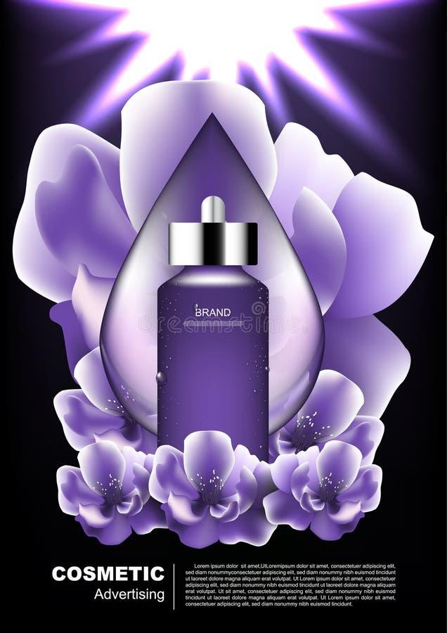Il siero di notte con goccia di acqua e la fioritura fiorisce sul backgro scuro illustrazione di stock