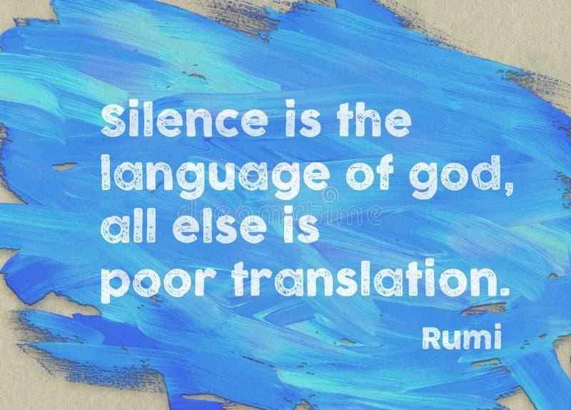 Il silenzio è Rumi fotografie stock libere da diritti
