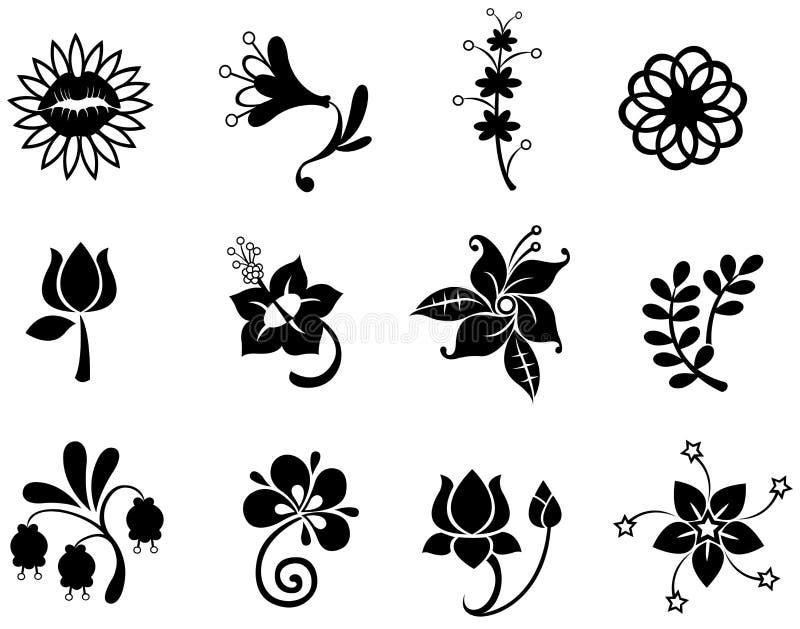 Il silhouettecollection dell'icona del fiore di fantasia ha messo 2 (vec illustrazione di stock