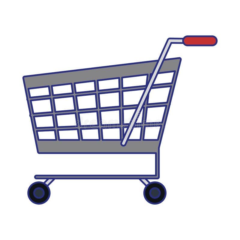 Il simbolo del carrello ha isolato le linee blu illustrazione di stock