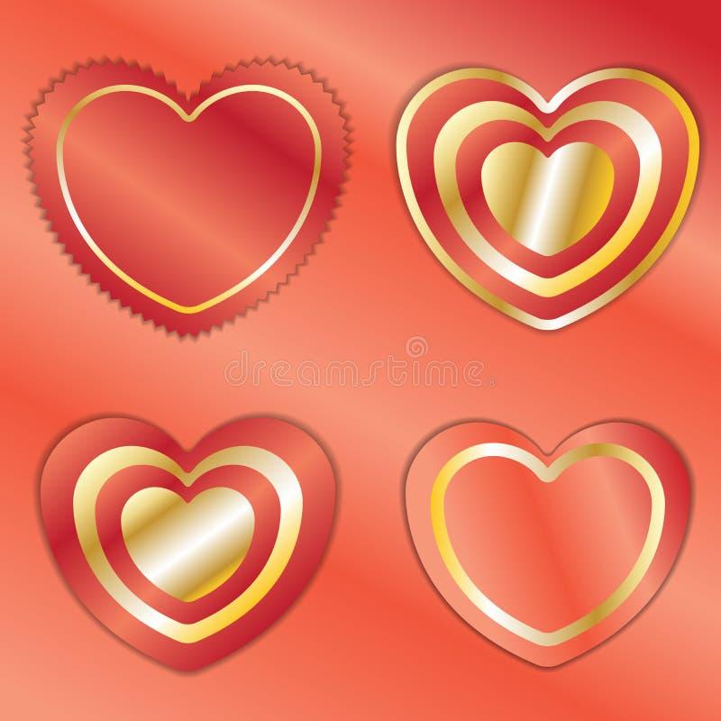 Il simbolo del cuore con rosso e la stagnola di oro su fondo rosso sventano illustrazione di stock