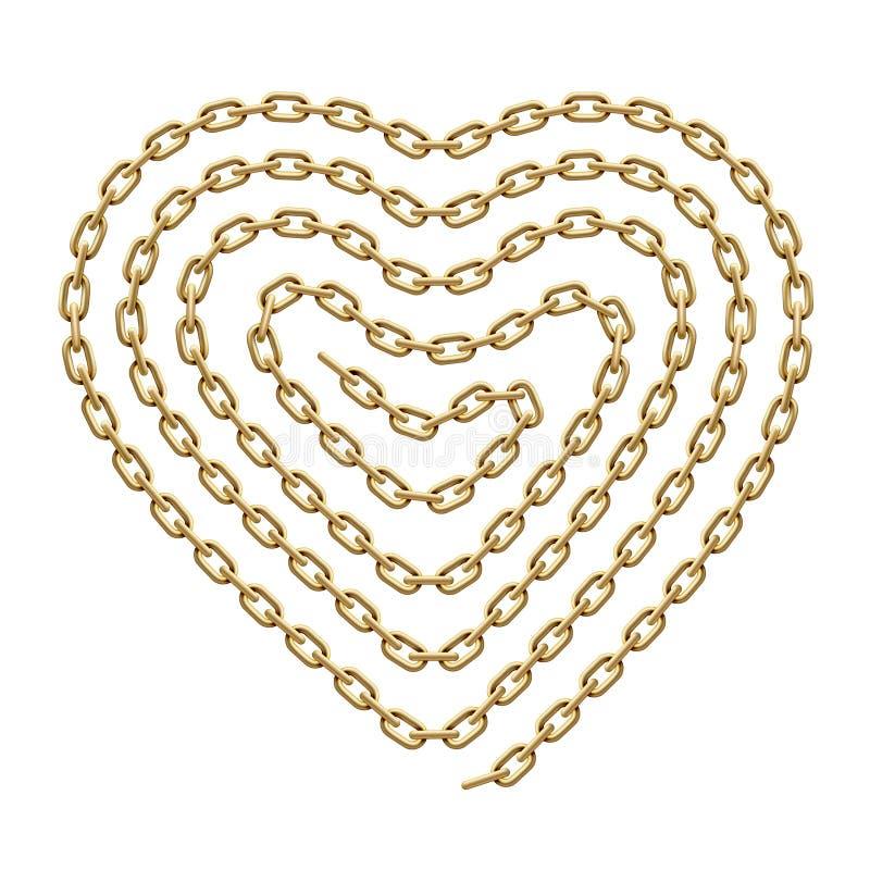 Il simbolo del cuore fatto della spirale ha modellato la catena dorata Illustrazione di vettore illustrazione vettoriale