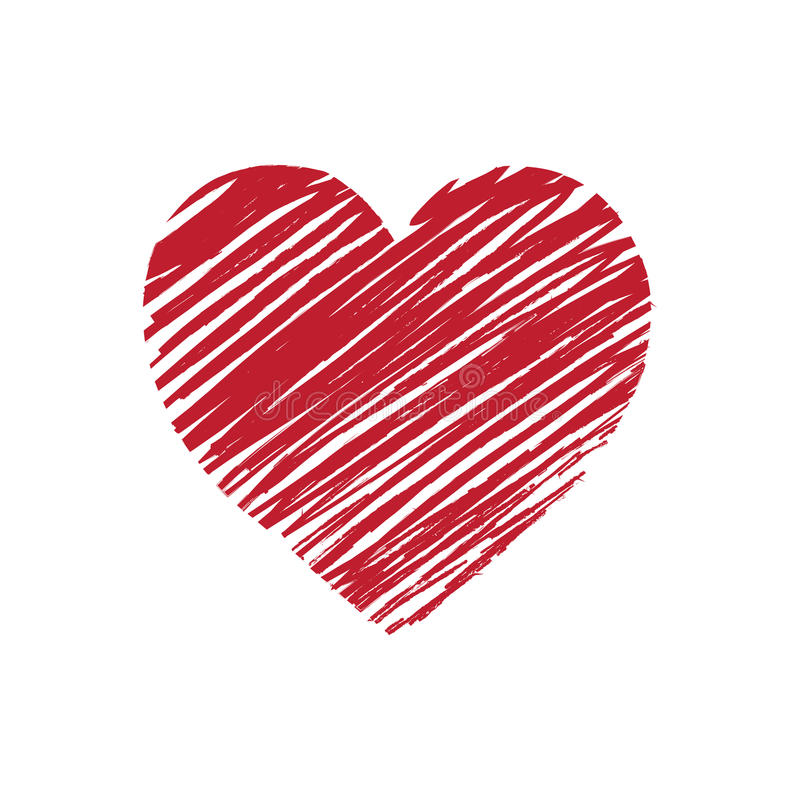 Il simbolo del cuore ha reso disegnato a mano nel rosso royalty illustrazione gratis