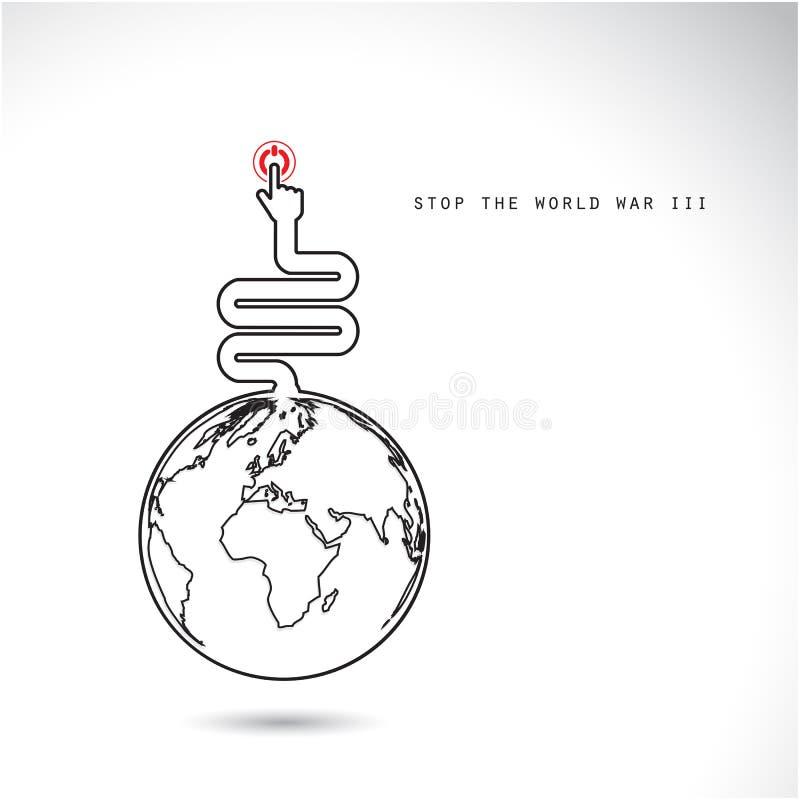 Il simbolo del mondo con le mani preme il bottone, ferma la guerra mondiale III illustrazione vettoriale