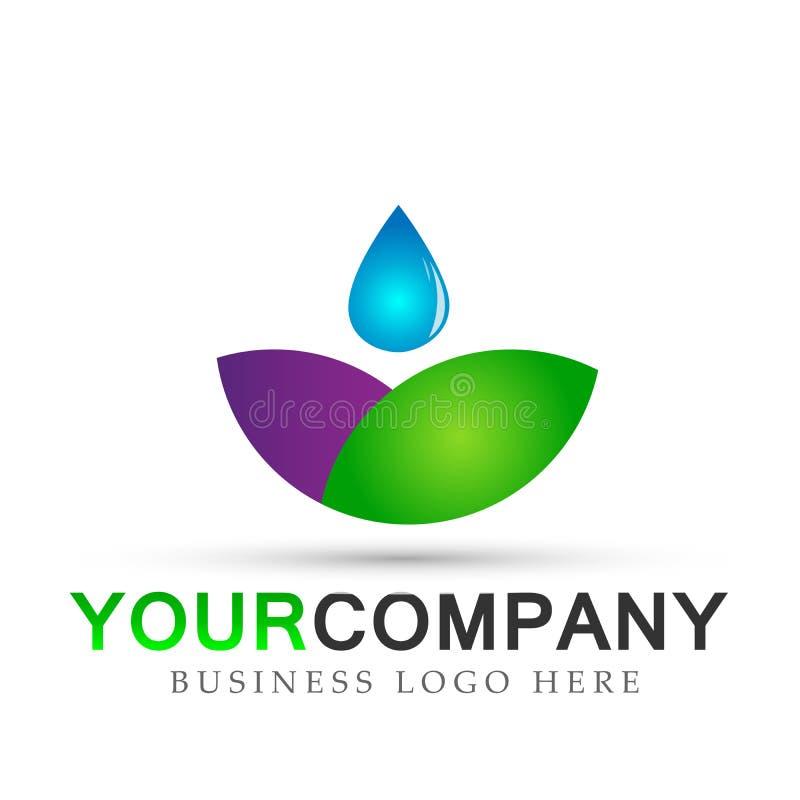 Il simbolo del paesaggio della natura della molla della pianta acquatica di risparmi di logo della foglia della goccia di acqua,  illustrazione di stock