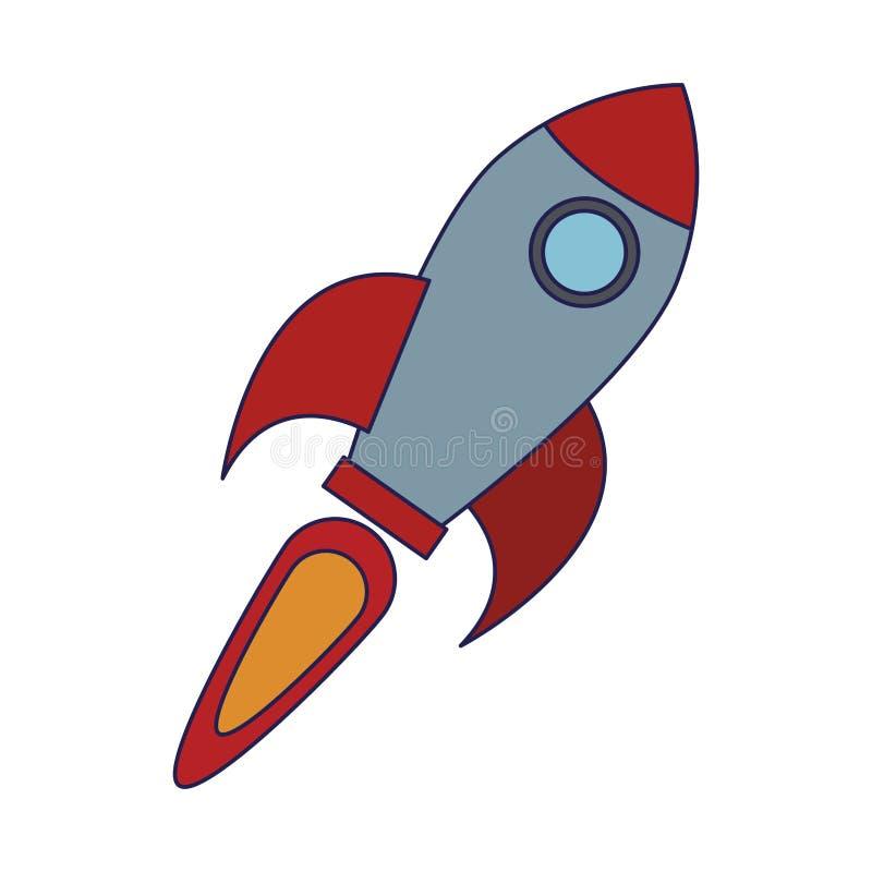 Il simbolo dell'astronave di Rocket ha isolato le linee blu illustrazione di stock